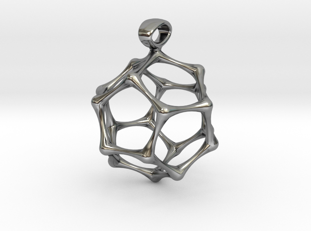 BONE DODECAHEDRON in Antique Silver
