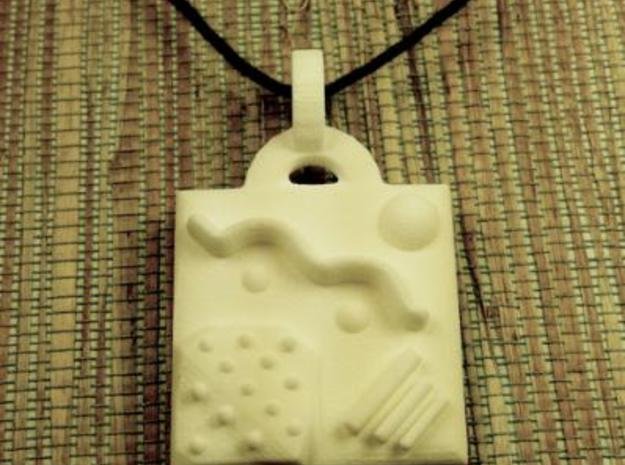 Miscellany Pendant 3d printed In White Plastic