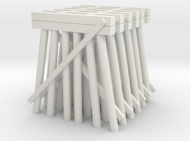 Trestle N (1:160) Six Piles Piers 6 Pack V.2 in White Natural Versatile Plastic
