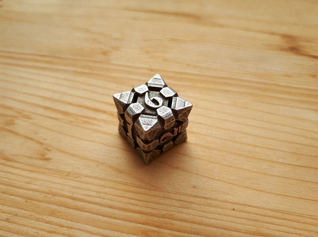 Fortress dice D6 in Polished Bronzed-Silver Steel