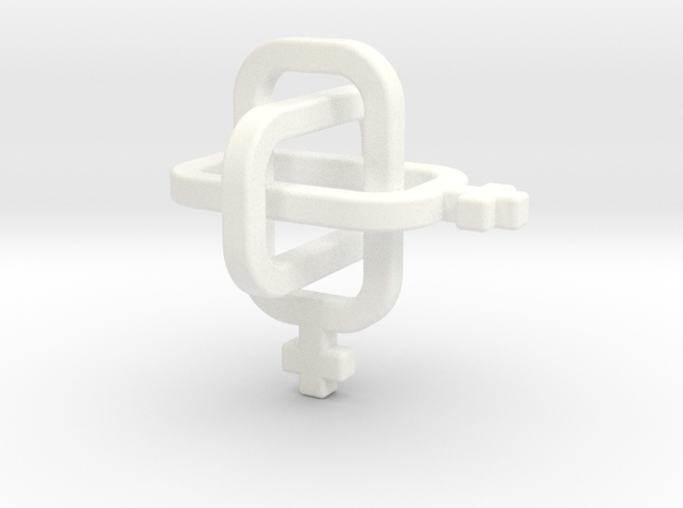 female/female Borromean rings in White Processed Versatile Plastic