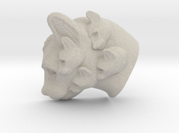 Cat Multi-Faced Caricature (006) in Natural Sandstone