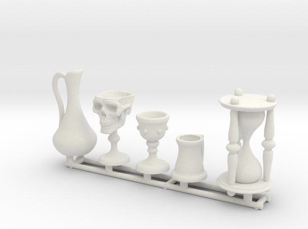 Skull Chalice and Hourglass in 1:12 scale in White Natural Versatile Plastic