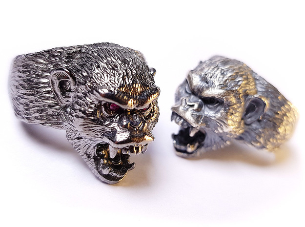 Aggressive Chimpanzee Ring in Natural Silver: 9 / 59