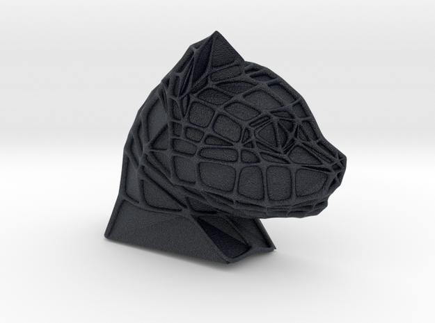 Cat Face + Voronoi Mask (001) in Black Professional Plastic