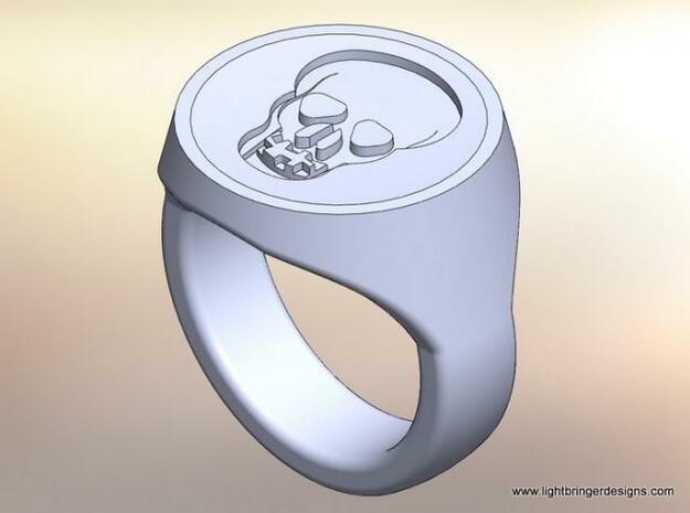 Skull Signet Ring in Polished Gold Steel