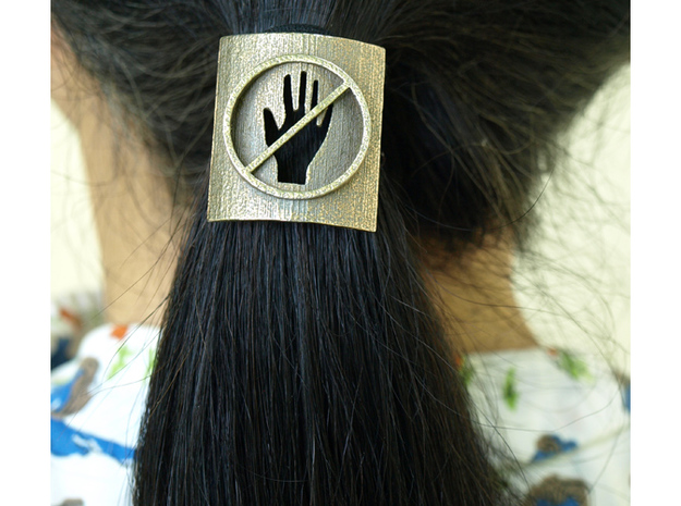 Don't Touch My Hair : No Touching! Hair Tie in Polished Bronzed Silver Steel: Small