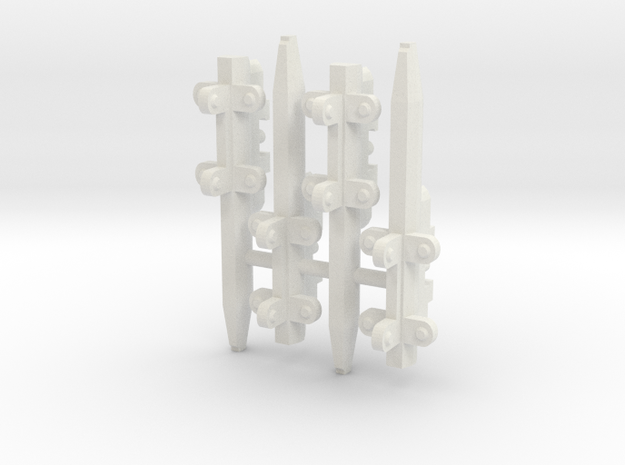 4x Triple Pylons for VF-1 Hard Points in White Natural Versatile Plastic: 1:60