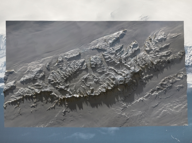 Vinson Massif / Mount Vinson Map in Natural Full Color Sandstone