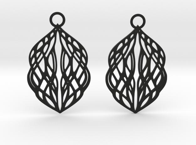 Stream earrings in Black Natural Versatile Plastic: Small