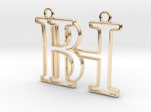 Monogram with initials B&H in 14k Gold Plated Brass