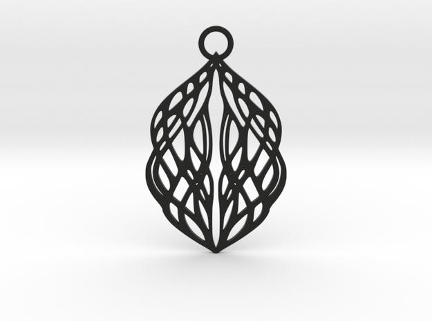 Stream pendant in Black Natural Versatile Plastic: Large