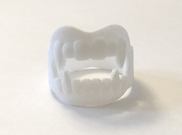 Vampire Fangs Ring in White Processed Versatile Plastic: 9 / 59