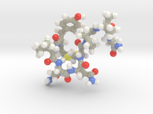 Oxytocin Keychain - Most probable conformation in Glossy Full Color Sandstone