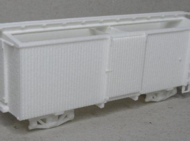 H0n30 22 foot Boxcar with 2 trucks (type 1A) in White Natural Versatile Plastic