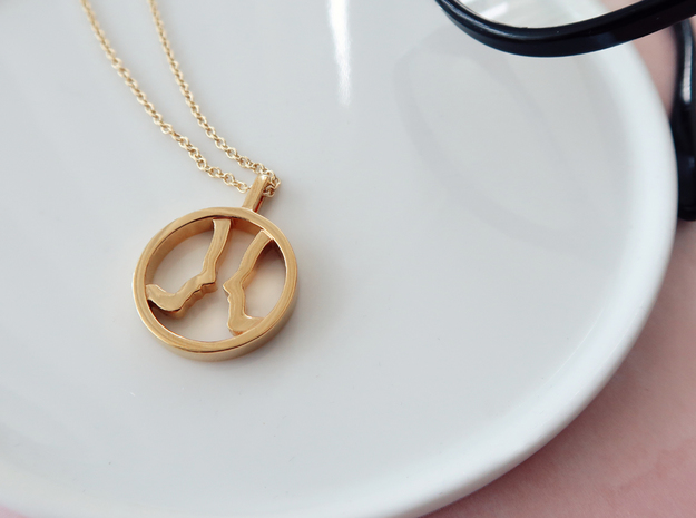 You and Me Necklace 2 in 14k Gold Plated Brass: Small