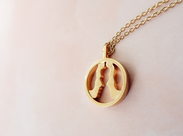 You and Me Necklace 3 in 14k Gold Plated Brass: Small