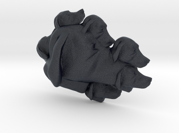Dog Multi-Faced Caricature (006) in Black PA12