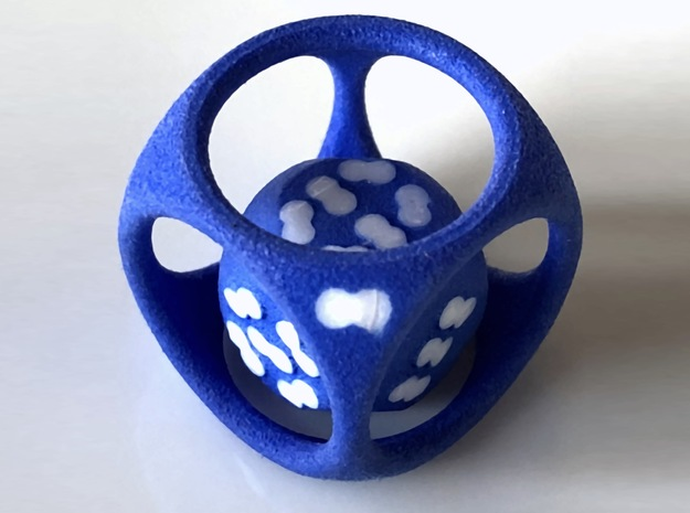 DIY Bicolor D14 as a D6/D7 Dual Dice in Blue Processed Versatile Plastic