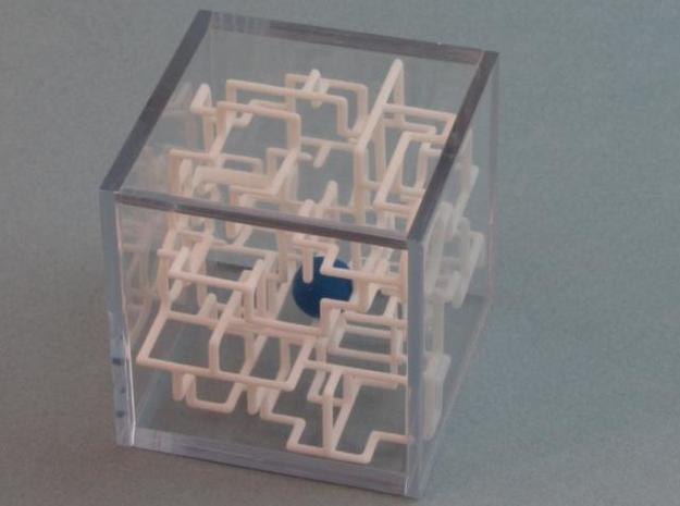"""Bare Bones"" Two-Pack - Rolling Ball Maze in Case 3d printed Ball inside the maze"