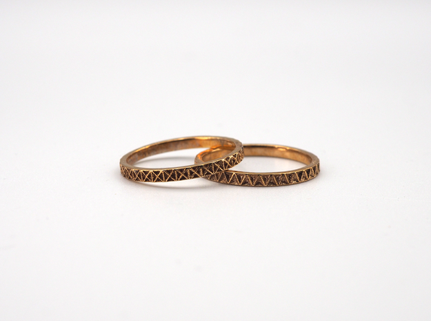 Geometric Stack Ring Set 1 in Polished Bronze: 5 / 49