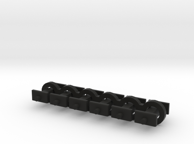 N Scale 6mm Fixed Coupling Drawbar x6 in Black Natural Versatile Plastic