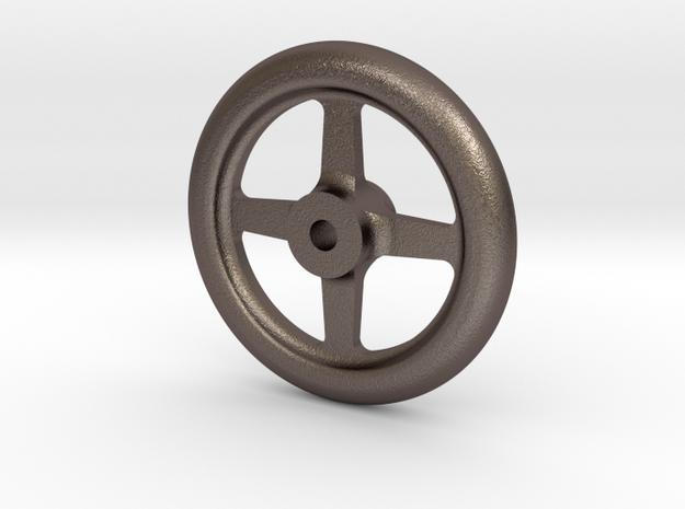 "NGG16 smokebox door handwheel 2.5""/foot in Polished Bronzed-Silver Steel"