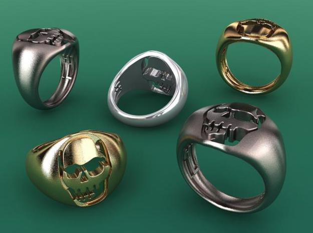 Skull VI Ring in Polished Bronzed Silver Steel