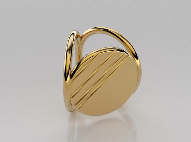 Striped Scarf Ring in 14k Gold Plated Brass