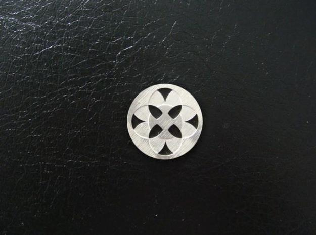 Round Pendant - Four Fountains in Natural Silver