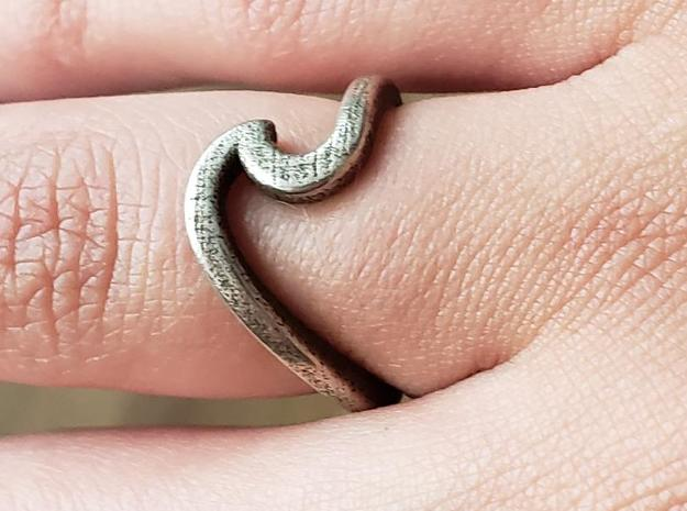 Wave Ring - 5 in Polished Bronzed-Silver Steel