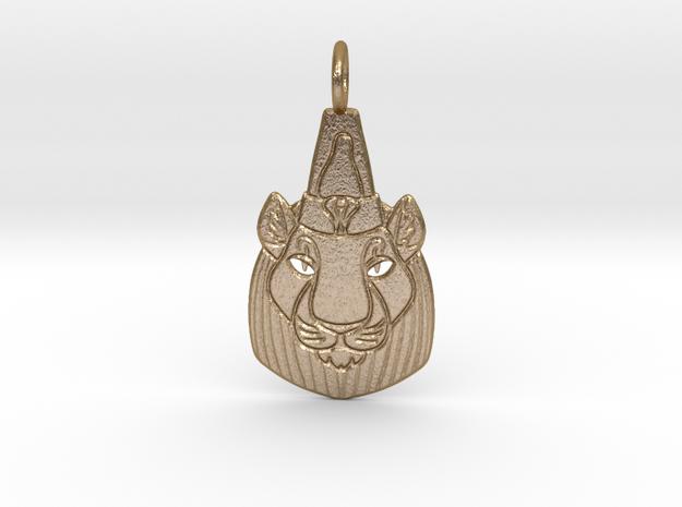 Bast-Mut or Sekhmet-Mut Pendant in Polished Gold Steel