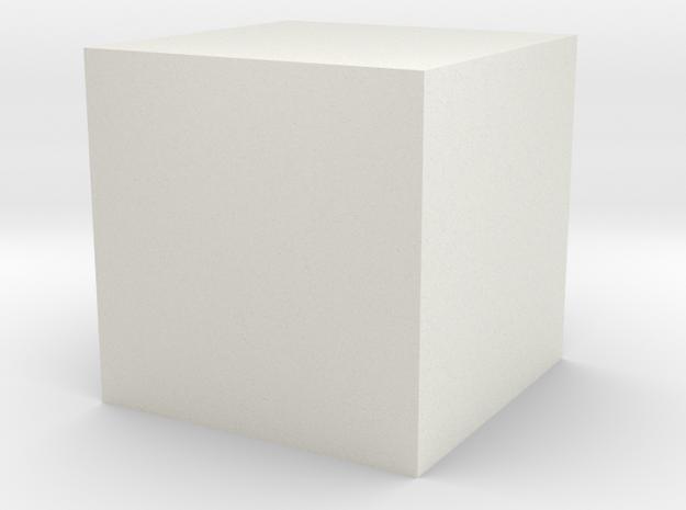 3D printed Sample Model Cube 1cm in White Natural Versatile Plastic: Large