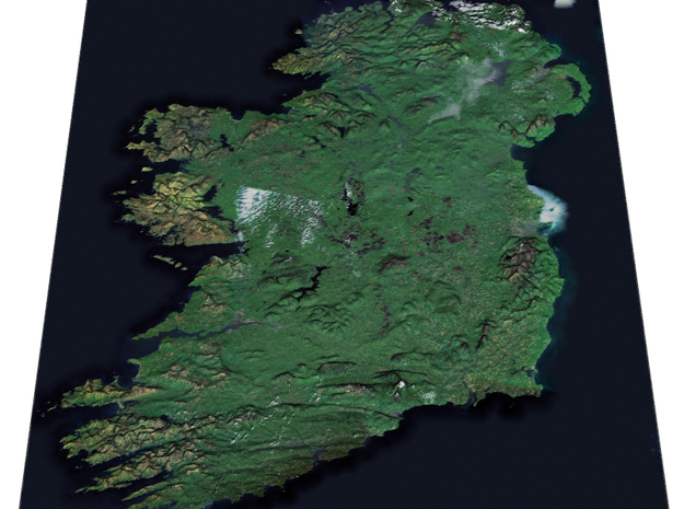 Ireland from Space Map in Matte Full Color Sandstone