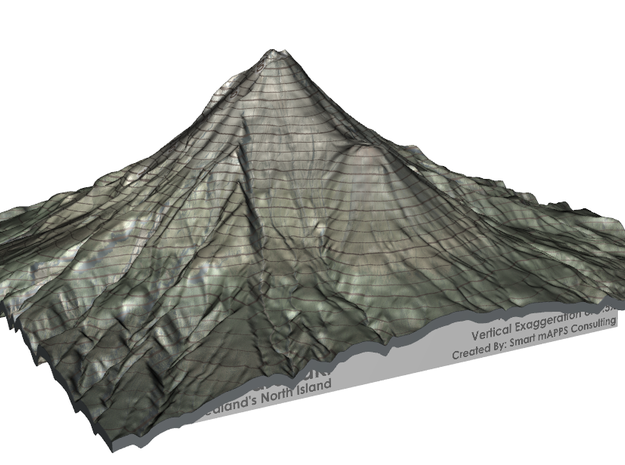 "Mt Taranaki Map - 9"" Contour in Matte Full Color Sandstone"