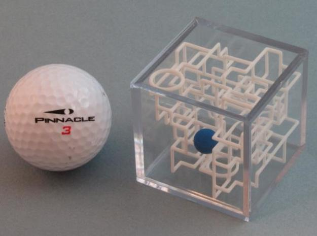 """Bare Bones"" - 3D Rolling Ball Maze in Clear Case( 3d printed Maze with Golf Ball"