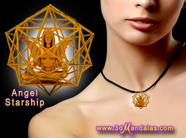 Solar Angel Starship: Sacred Geometry Dodecahedral in 18K Gold Plated