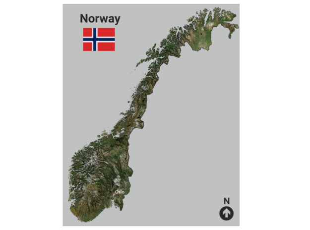 Norway Map in Glossy Full Color Sandstone