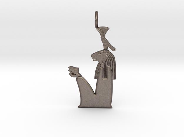 Nefertem amulet - Lion version in Polished Bronzed-Silver Steel
