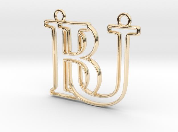 Initials B&U monogram  in 14k Gold Plated Brass
