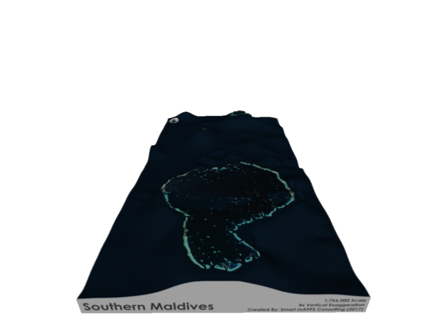 Southern Maldives Map in Matte Full Color Sandstone