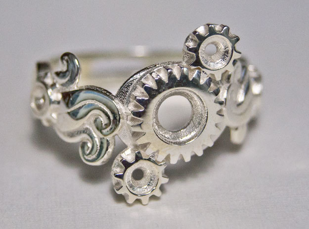 Tri-Gear Mech Ring size 10 in Polished Silver