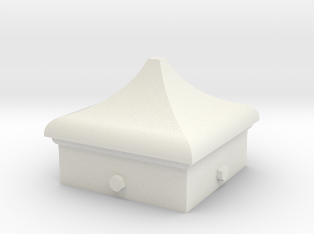 Signal Finial (Square Cap) 1:6 scale in White Natural Versatile Plastic