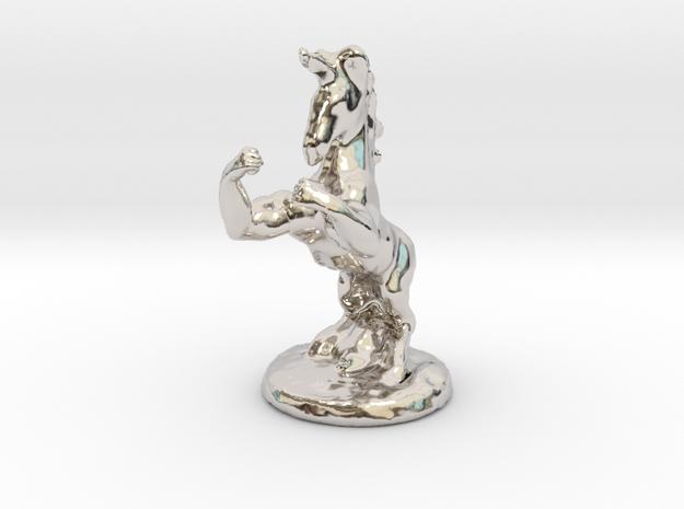Fu The Fighting Unicorn™ small in Rhodium Plated Brass: Small