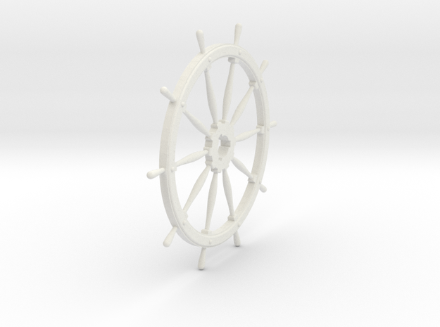 Ship's Wheel 10 spoke 1:24 scale in White Natural Versatile Plastic