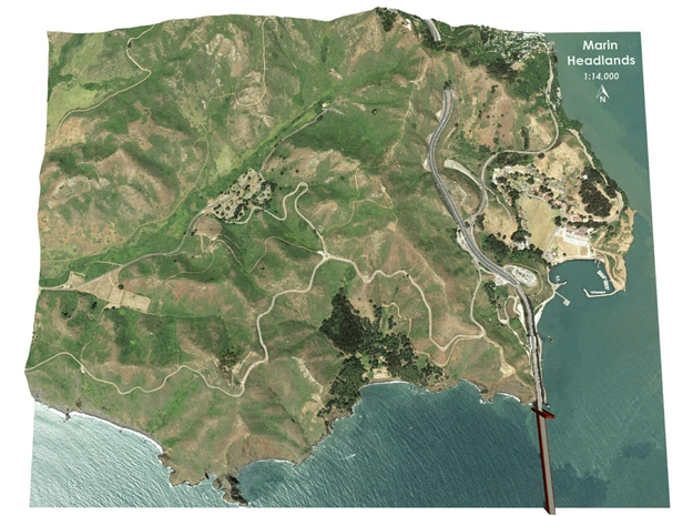 "Marin Headlands Map: 8.5""x11"" in Full Color Sandstone"