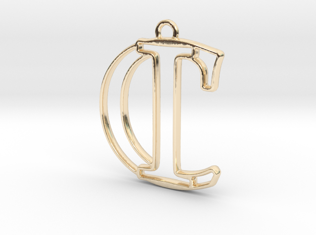 Initials C&I monogram in 14k Gold Plated Brass