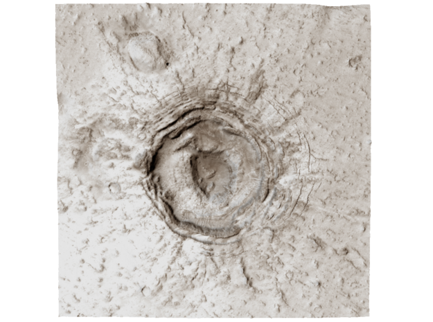 Mars Map: Crater in Phlegra Dorsa - Sepia in Matte Full Color Sandstone