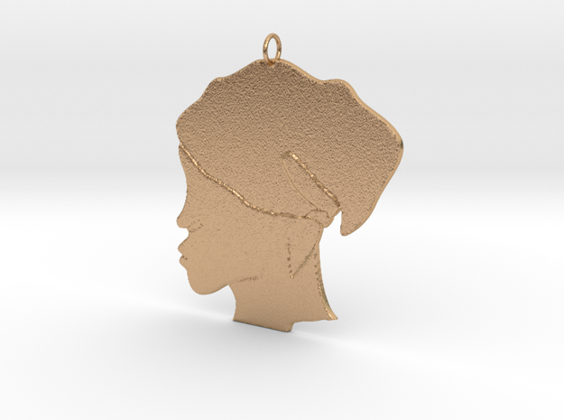 Scarf Head Outline Pendant  in Natural Bronze