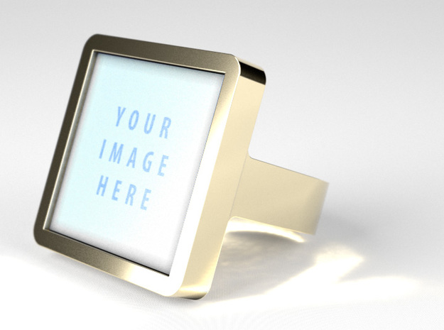 Square Signet Ring - Insert in Glossy Full Color Sandstone